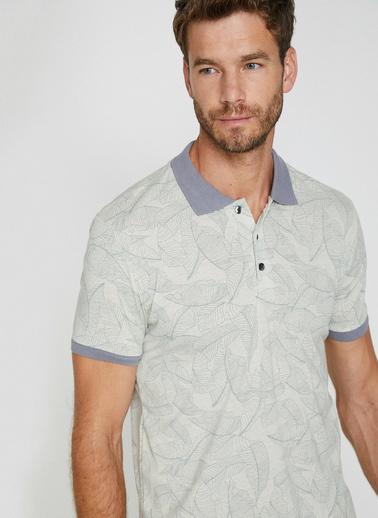 Koton Polo Yaka Kontrast Yaka Süprem Kumas Slim Fit  T-Shirt Ekru